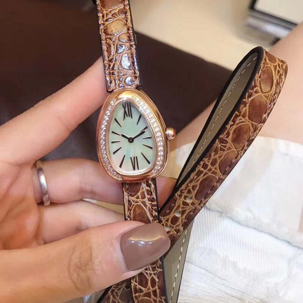 28MM Outdoor Exquisite Womens Watches Quartz Serpenti Viper Ladies Watch Mother Of Pearl Dial With Double Twirl Brown Leather Band