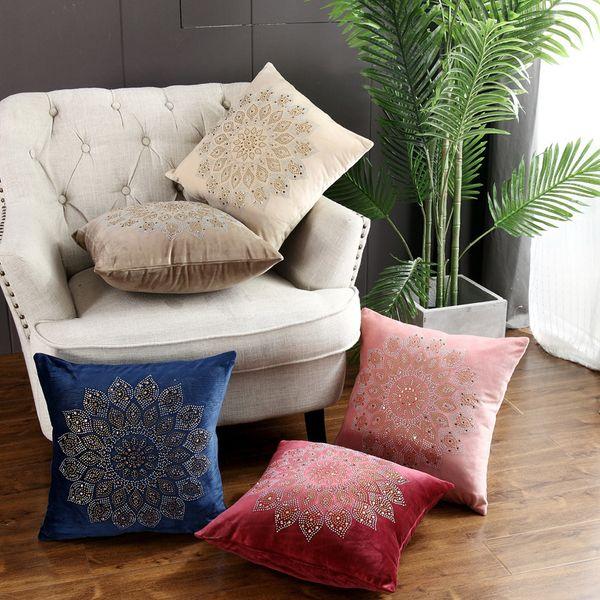 Morden Velvet Pillow Case Mandala Rhinestone Polyester Throw Pillow Cover Home Decorative Cover Excellent For Sofa Bed