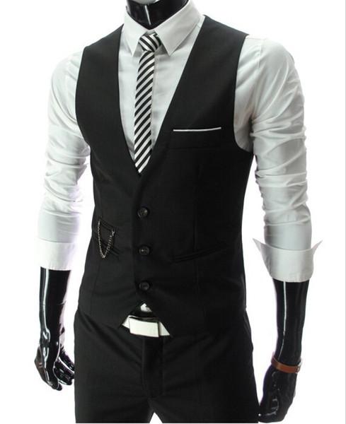 New Arrival Dress Vests For Men Slim Fit Mens Suit Vest Male Waistcoat Homme Casual Sleeveless Formal Business Jacket