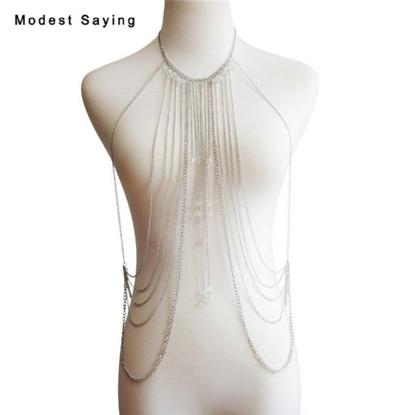2019 New Fashion Tassel Lady Body Chain Sexy Beach Belly Body Chain Wedding Accessories Silver Body Jewelry for Women Necklace