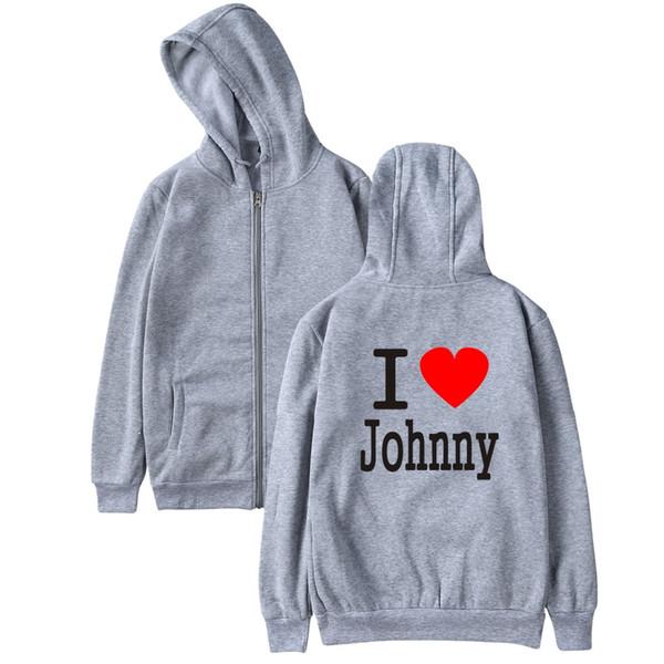 Я люблю Джонни Холлидей мода хип-хоп мужчины женщины молния куртка с капюшоном случайный спортивный костюм топ с длинным рукавом на молнии с капюшоном