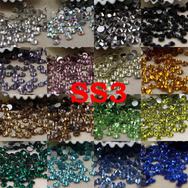 Strass não hotfix ss3 25 cores sobre 1440 pcs 3d nail art strass de vidro não hotfix flatback cola em strass para diy nail art