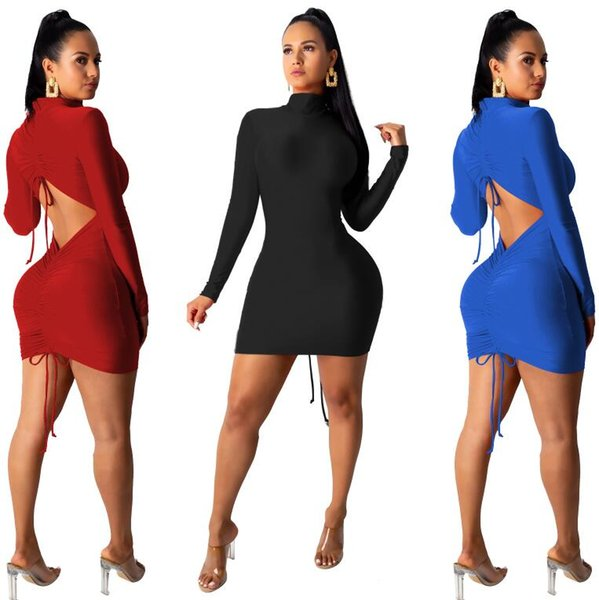 Back Draped Cut Out Sexy Bodycon Mini Dress Women Club Fall Long Sleeve Turtleneck Party Tight Fitted Dresses