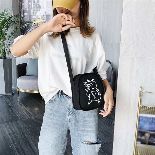Korean Style Cute Pig Shoulder Bag Summer Female Canvas Diagonal Bag Small Mobile Phone Shoulder Messenger Bags Bolsos Mujer