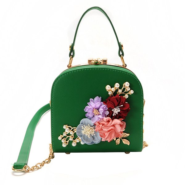 Fashion Flower Women Evening Bag Pu Leather Wedding Women Evening Bag Clutch Beauty Female Pearl 5 Colors Crossbody Shoulder Bag