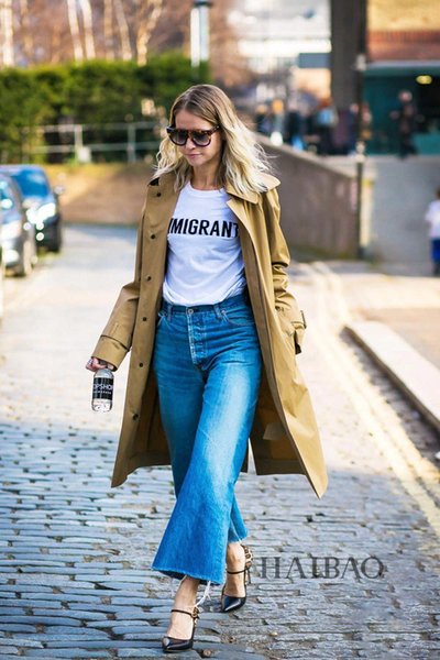 Jeans female 2019 autumn and winter new fashion straight Korean version of the thin wild wide leg pants2096