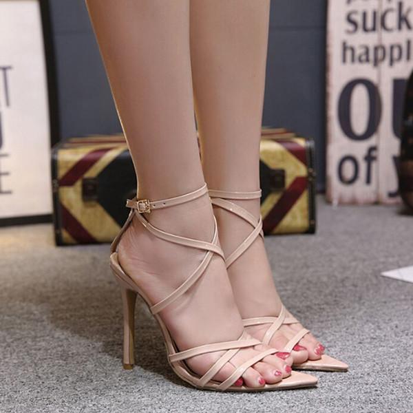 Colocación múltiple Tacones atractivos Sandalias con vendaje en el tobillo Gladiador Zapatos para mujer Zapatillas de tacón alto con punta abierta para mujer