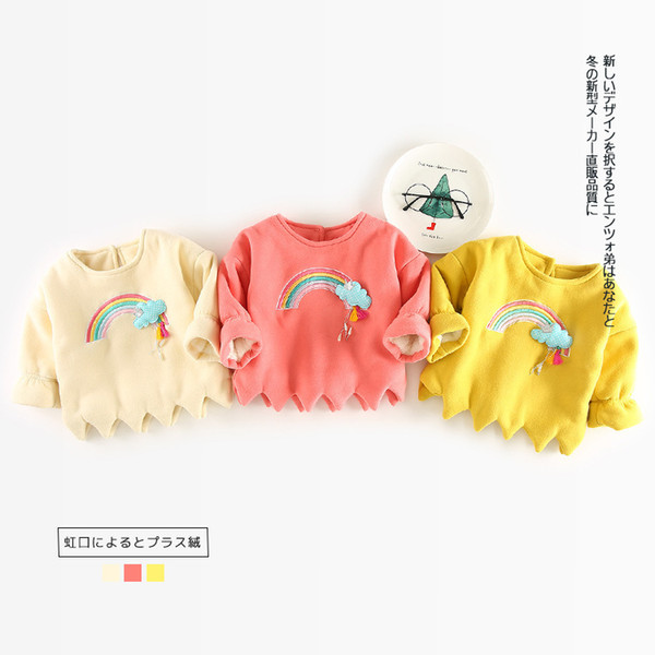 Baby Girl Embroidery Tassel Rainbow Casual Sweatshirt Autumn Winter Kids Thickening Pullover Outerwear Girl Long Sleeve T-shirt