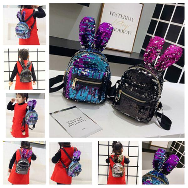 4 цвета блесток рюкзак милый кролик рюкзак детские рюкзаки мода девушки сумка на одно плечо сумка для хранения T2D5026