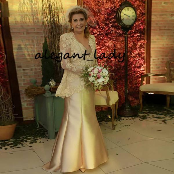 Champagne Gold Plus Size Kleider für die Brautmutter mit langärmliger Spitzenjacke Ganzkörperansicht Mermaid Women Occasion Mother's Gown