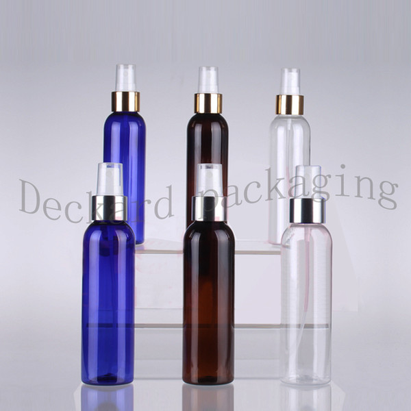 50pcs 150ml Plastikflasche mit Gold / Silber-Aluminium Mist Spray Parfüm-Flaschen, Farbige kosmetische Verpackungsbehälter leeren