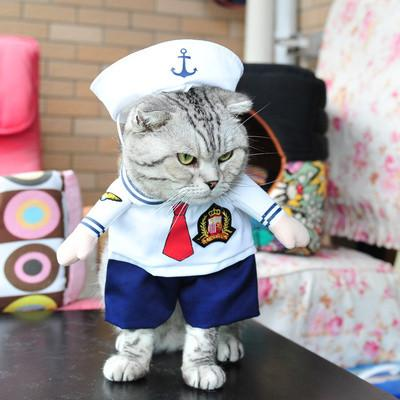 Cute Pet Dog Cat Costume Sailor Outfit Halloween Jumpsuit Puppy Uniform Clothes Funny Party Cosplay Role Play Dressing Up Coat