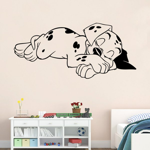 Sleeping Puppy Wall Decal Vinyl Self-adhesive Cartoon Dog Wall Sticker Murals for Living Room Kids Room and Nursery Decoration Eco-friendly