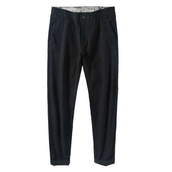 Men Casual Pants Mid Full Length Cotton Smart Casual Flat Autumn Pants Straight Plus Size 28-40 Solid Korean Style MCK002
