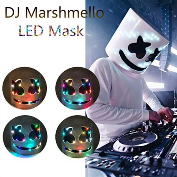 Led Light Marshmello Mask Cosplay DJ Music maschere Disco Bar puntelli del partito di Halloween Cosplay led luminosi Mask Outdoor Gadget ZZA1295 10pcs