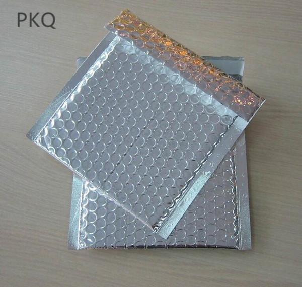 200pcs / lot sacchetto di busta imbottita bolla foglio di alluminio argento 9 * 12 spazio utilizzabile piccola bolla borsa mailling confezione regalo di spedizione