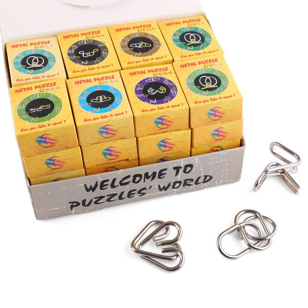 32pcs classique puzzle intelligent fil métallique Montessori déroutant cerveau teaser bagues magiques jeux pour adultes enfants enfants cadeaux Y19070503