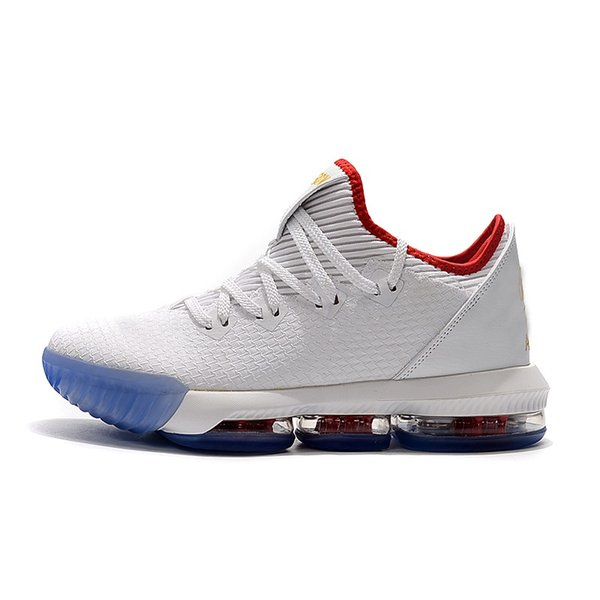 Mens lebron 16 low basketball shoes for sale White Gold Draft Red SuperBron Safari youth kids lebrons new sneakers boots with box size 7 12