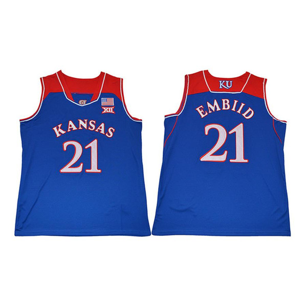 Mens Joel Embiid Jersey Collection Kansas Jayhawks Paul Pierce Josh Jackson College Basketball Jerseys Stitched Name&Number Size S-2XL