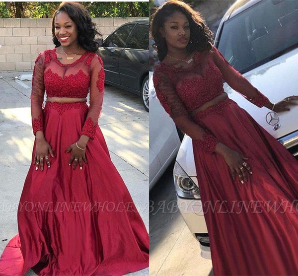 Dark Red Two Pieces Long Prom Dresses 2019 Vintage Sheer Long Sleeves Lace Appliques Satin Formal Evening Gowns Black Girls Party Wear