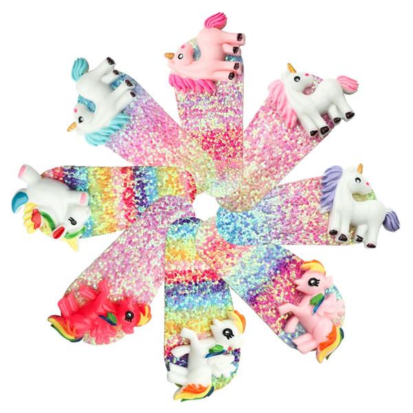 Kızlar Sequins Unicorn Saç Klip Moda Çocuklar Karikatür Firkete Sevimli Glitter Tasarımcı Tokalarım Bebek Parti Saç Aksesuarları TTA1129