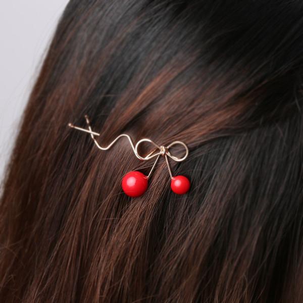1Pc Sweet Fashion Designer Romantic Women Girls Korean Cherry Shaped Bow Hairpin Elegant Twist Hair Clip Headdress Gifts C19010901