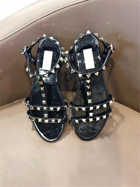 Garavanis Rubber Metallic Caged Slide Ankle Strap Women Stud Slingback Ladies Flattie Flat Sandal Rivets Shoes Flip Flops Sandals Summer