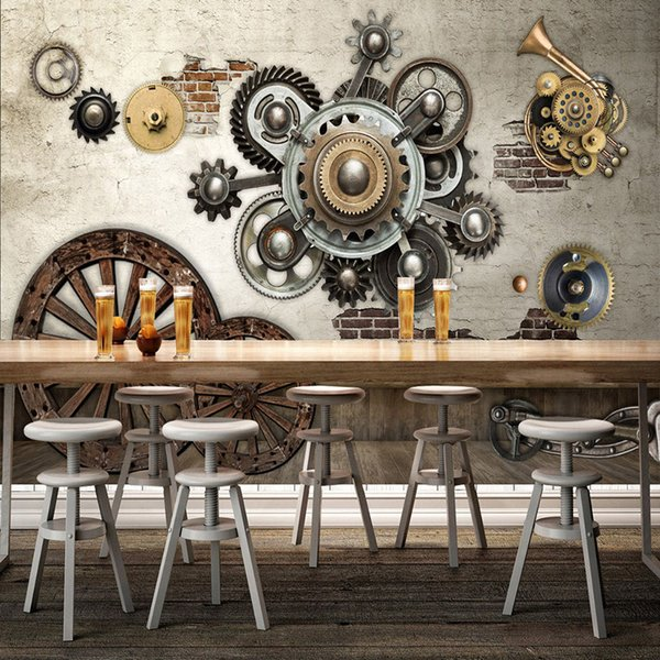 3d Wallpaper Retro Mechanical Gear Cafe Restaurant Bar Ktv Background Wall Mural 3d Stereo Embossed Non Woven Papel De Parede 3d Bedroom Wallpaper