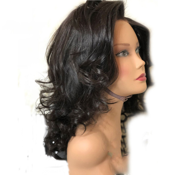 Hot Sexy Style 16inch Black Natural Wave Heat Resistant Hair Women Wedding Party Daily Makeup Present Synthetic Lace Front Wigs High Quality