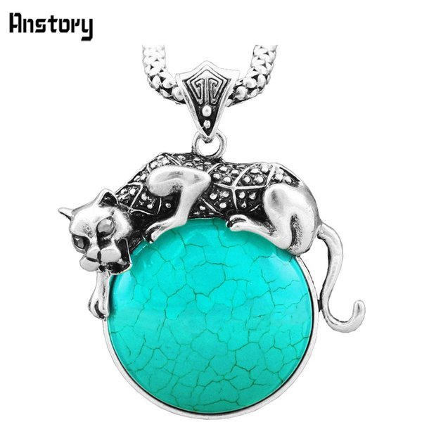 stone necklace Classic Leopard Blue Red Synthetic Turquoises Necklace Vintage Look Antique Silver Plated Fashion Jewelry TN198
