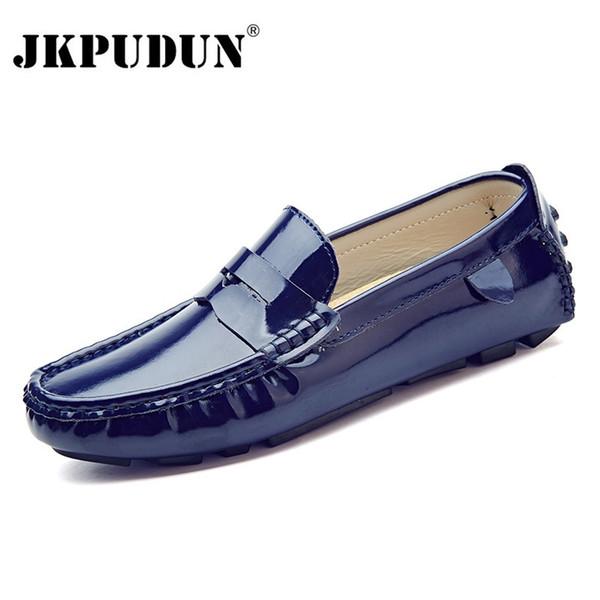 69199f8d90025 JKPUDUN Hombres Zapatos Casuales Marca de Lujo 2018 Cuero Dividido Zapatos  de barco de Moda Hombres