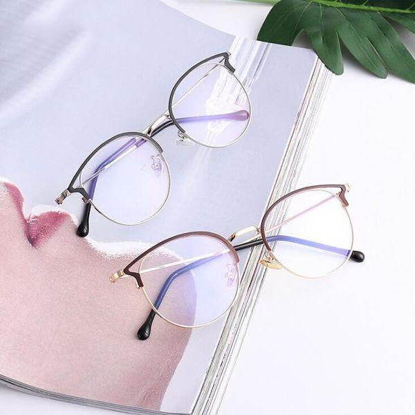 See_Katy Новый ретро металлический каркас для очков с плоским зеркалом Анти-синий свет Очки для кошачьих ушей SPH0026