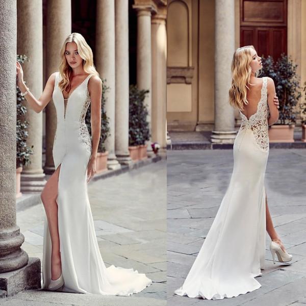 best selling 2019 Sexy Greek Fashion Sheath Wedding Dresses Deep V Neck Front Split Backless Bridal Gowns Bride Beach Party Wear