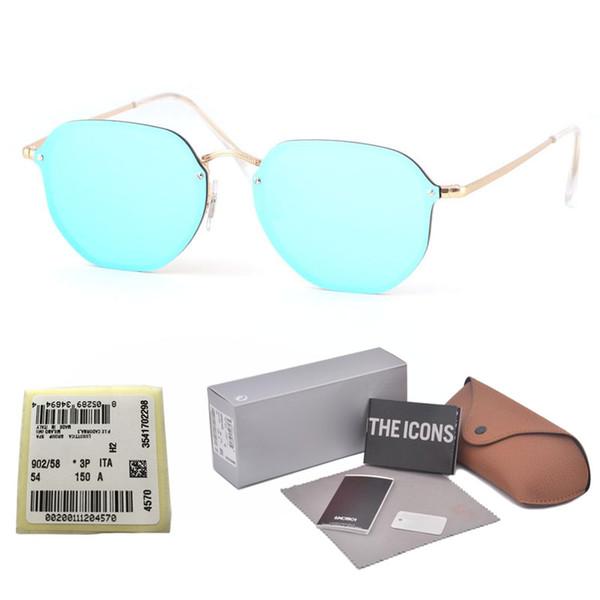 Nueva tendencia sin marco Gafas de sol Mujeres Vintage Marca Diseñador Para mujer Gafas de sol Gafas cuadradas irregulares Pink Shades Mujer con estuche