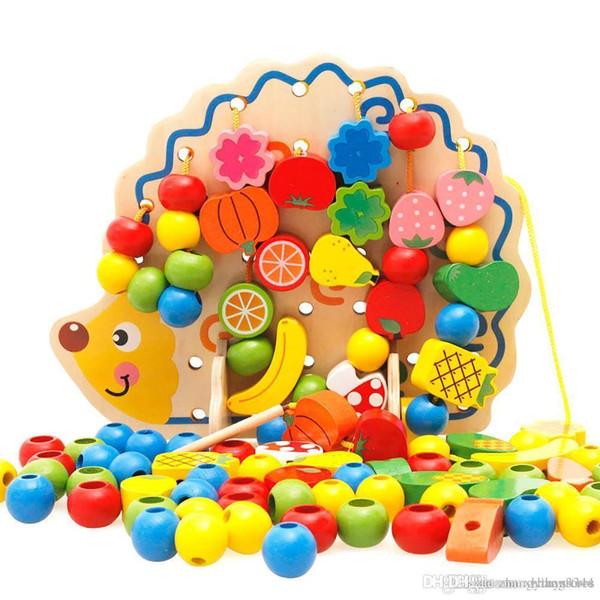 Wholesale- 1 Set creativo utile legno Hedgehog frutta perline di verdure Building Thread Toy per i bambini