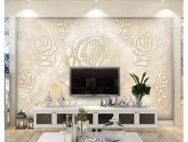 Пользовательские 3D шелк фото росписи обои Европейский мраморная плитка ТВ диван фон стены рельеф стены росписи стикер обои для стен 3d