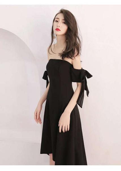 Smoking preto 2019 nova festa, jantar e vestido de festa, boob top tubo, sem alças, midi padrão, celebridades, mulheres senhora