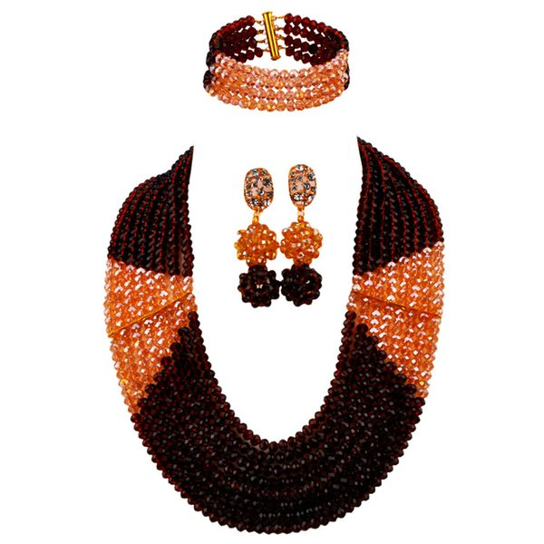 Fashionable Brown and Champagne Gold AB Nigerian Wedding African Beads Jewelry Set Crystal Necklace LBSJ03