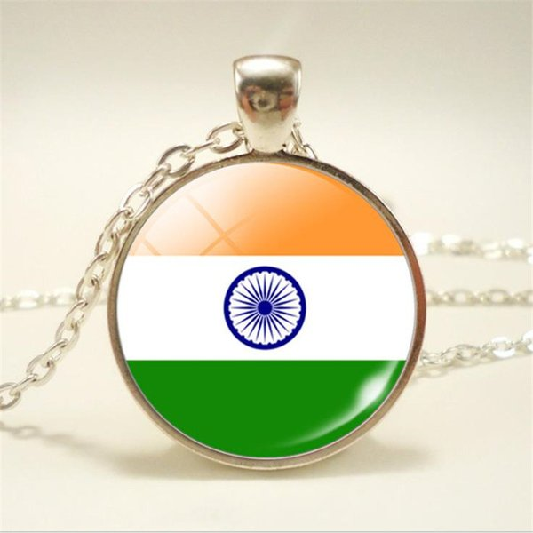 Moda Nova Gema de Tempo Cabochão De Vidro Índia Nacional Da Bandeira do Mundo Da Copa Fã de Futebol Colares Pingentes Doces Acessórios Atacado Gargantilha Jóias