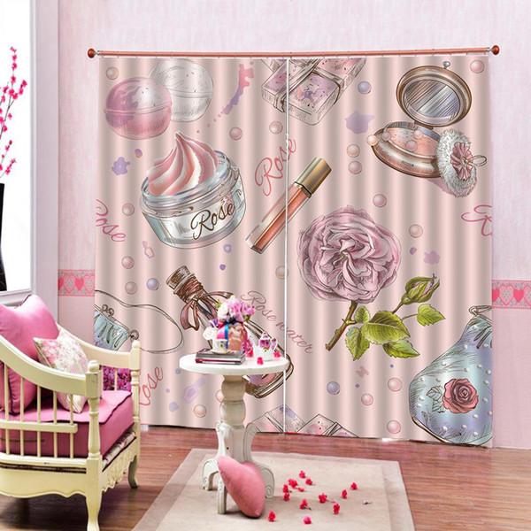 NOUVEAUX rideaux de douche Girly cosmétiques parfum et rouge à lèvres vernis à ongles brosse impression décorative chambre à la maison rideaux