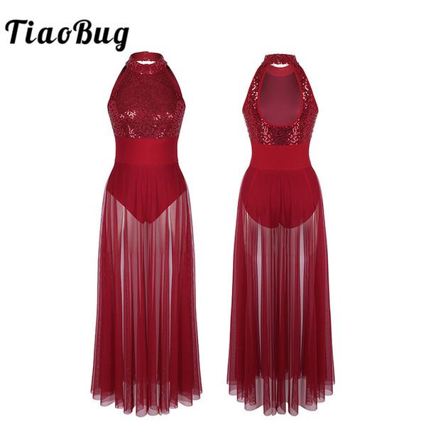 Women Lyrical Dance Dress Asymmetrical Mesh Built-In Leotard Ballroom Dancewear
