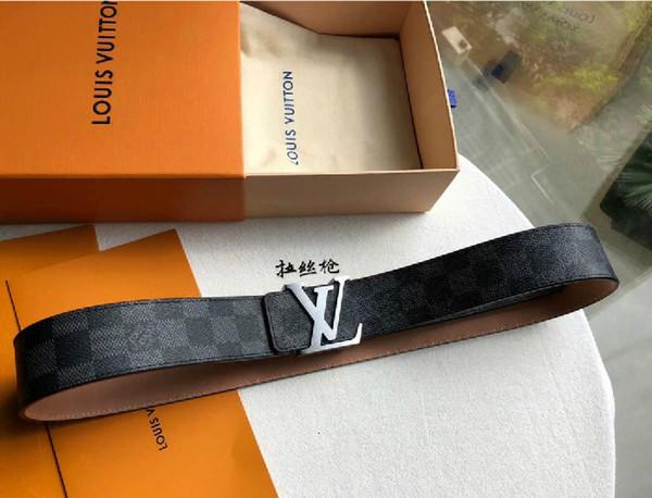 Dessin lettre pistolet boucle de ceinture Ceintures checkerboard authentiques officiel Hommes Femmes Hommes Ceinture avec la boîte