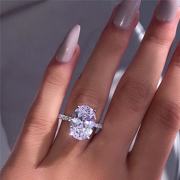 Große Zirkonia Ring Mode Hochzeit Schmuck Weiblichen Verlobungsring Kristall Ovale Form Silber Ring Party Neues Geschenk SJ