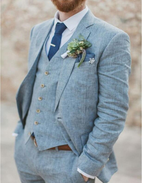 Frühling Sommer Licht Blau Leinen Männer Anzüge Hochzeit Bräutigam Smoking 3 Stücke 2 Tasten Groomsmen Anzug (Jacke + Weste + Hosen) Strand Hochzeit Anzug