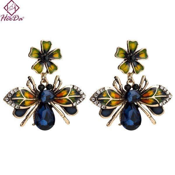 Heeda Kpop Big Name Flower Bee Metal Epoxy Blue Crystal Stud Earring Women Vintage Graceful Ear Accessories Fashion Lady Jewelry