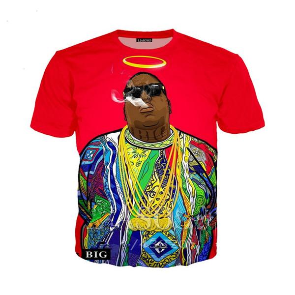Nuevos hombres / mujeres Funny Rapper Tupac 2pac Notorious B.I.G. Biggie Smalls Camiseta con estampado 3D Tops de verano Talla grande Estilo hip hop Outfit U1294