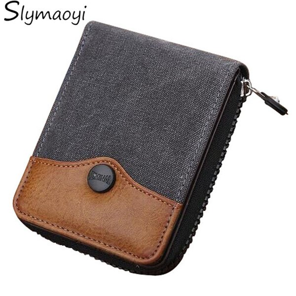 Cowboy Canvas Men Wallet Large-capacity Man Short Wallets Vintage Purses High Quality with Coin Pocket Zipper Coin Purse #160119