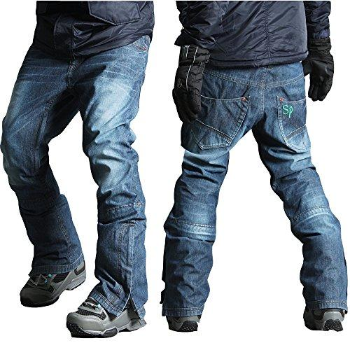 myglory77mall Mens Winter Warm Waterproof hip Ski Snowboard Denim Pants JEANS
