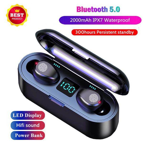 JMPOZ TWS Bluetooth 5.0 écouteurs écouteurs stéréo sans fil sport sans fil Oreillettes 2000 mAh Banque d'alimentation pour iPhone 11 X Xiaomi