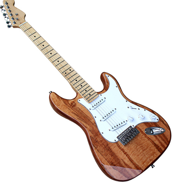 Natural Wood Color Mahogany Electric Guitar with Maple finger plate,SSS Pickups,Chrome Hardwares,offering customized services.